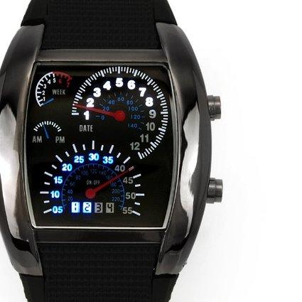 Stylové binární LED hodinky s motivem tachometru. Elektronika » Hodinky LED 8f66181df4